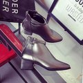 Strappy Zipper Pointed Toe Ankle Short Square Heel Boots