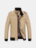 Casual Outdoor Cotton Epaulet Waterproof Inside Pocket Solid Color Stand Collar Jacket For Men