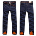 Winter Casual Business Thicken Cotton Slim Denim Straight Leg Mid-Waist Jean for Men