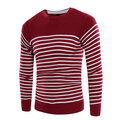 Mens Fall Winter Fashion Striped Printed Knitted Round Neck Long Sleeve Casual Sweater