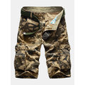 Mens Casual Cotton Blend Large Size Multi-pocket  Military Camouflage Cargo Shorts