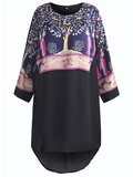 O-NEWE Folk Style Printed Long Sleeve O-Neck Chiffon Tops For Women
