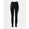Women Rose Embroidered Ripped Pencil Stretch Skinny Jeans