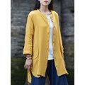 Women Vintage Irregular Hem Long Sleeve Button Blouse