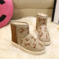 Cute Cat Pattern Color Match Slip On Ankle Flat Boots