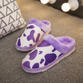 Корова Pattern Fur Color Match Open Hel Home Floor Slippers