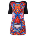 Casual Print O-neck Half Sleeve Mini Dress For Women