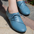 Pure Color Leather Lace Up Soft Driving Flat Shoes