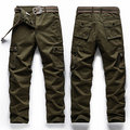 Mens Plus Size Casual Cargo Pants Solid Color Big Pockets Outdoor Cotton Trouser