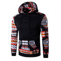 Mens Hoodies Ethnic Style Pattern Printing Stitching Front Pocket Sport Hooded Tops