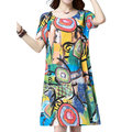 Casual O-neck Short Sleeves Printed Dresses For Women