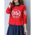 Vintage Chinese Embroidery Button Turn-Down Collar Jacket