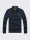 Casual Breathable Cotton Solid Color Stand Collar Long Sleeve T-Shirt for Men