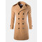 Mens Winter Thick Warm Long Coat Solid Color Double-breasted Turndown Collar Slim Fit Outwear