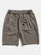 Mens Retro Knitted Elastic Waist Drawstring Breathable Casual Shorts