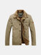 Fashion Mens Winter Warm Extra Cotton Lined Thick Coat Detachable Collar Casual Jacket