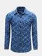 Mens Spring Fall Blue Grids Printing Turndown Collar с длинными рукавами Slim Fit Casual Shirts