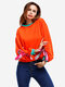 Casual Women Long Sleeve Hit Color Pullover Sweatshirts