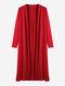 Kimonos largos de algodón de color puro de manga larga para mujer