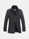 Men's Winter Thickened Stand Collar Wool Blend Tweed Coat Long Jacket
