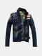 Mens Fall Winter Denim Shirt Stitching Fashion Slim Fit Turndown collar Jacket