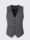 Mens Gentalmen Stripes Business Slim Fit Waistcoats V-neck Dress Suit Vest