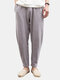 Mens Linen Solid Color Casual Soft Long Trousers Drawstring Flax Leisure Pants