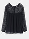 Casual Lace Chiffon Pacthwork Long-Sleeve O-Neck Blouse