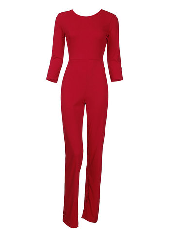 Вечерняя вечеринка Backless Red Women Sexy Long Jumpsuit