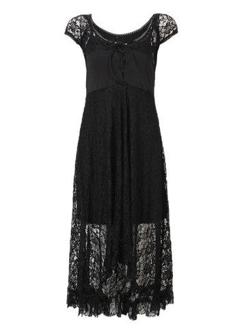 Lace Hollow Floral Asymmetric Hem Dress For Women