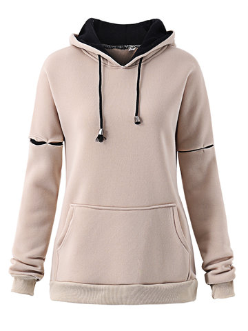 Casual Long Sleeve Hooded Drawstring Women Pullover Sweatshirt