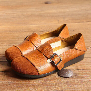 SOCOFY Buckle Multi-Way Color Blocking Soft Leather Flat Loafers