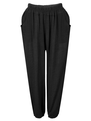 Casual Women Solid Stretch Waist Pocket Linen Pants Trousers