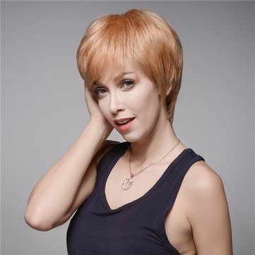 Charming Short Straight Side Bang Human Hair Wig Mono Top Virgin Remy Capless 13 Colors