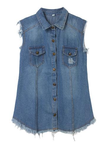 Женщины без рукавов запястье карман рваные жилет джинсовой куртке