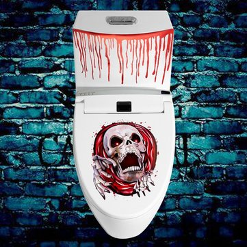 Blood Splattered Toilet Seat Stickers Zombie Halloween Horror Party Decoration