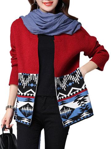 Mujeres Ethninc Imprimido manga larga Jersey suéter cárdigan