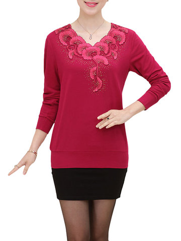 Elegant Women Floral Printed V-Neck Long Sleeve Pullover Sweater