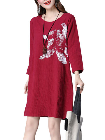 Vintage Long Sleeve Printed Loose Pure Color Women Dresses