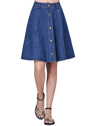 Casual Single Breasted A-line Denim Skirt For Women