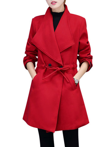Elegant Women Long Sleeve Lapel Bandage Waist Woolen Coats