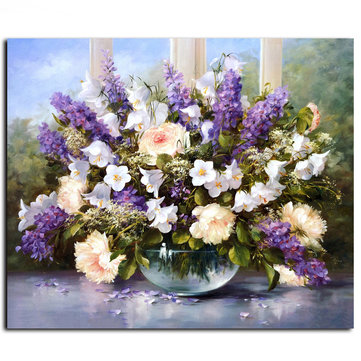 40X50CM Frameless Painting Lavender Flowers  Linen Canvas Wall Art Oil Painting DIY Paint By Numbers