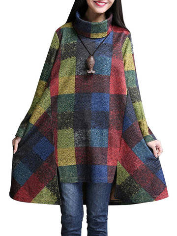 O-NEWE Casual Plaid Asymmetric Hem Loose Turtleneck Dress
