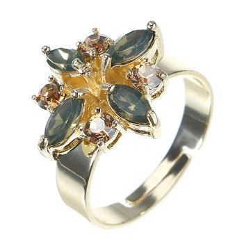 JASSY® Gold Rhinestone Flower Ring
