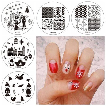 5Pcs Christmas Nail Image Stamps Template Santa Claus Snowflake Children Glove Snowman House
