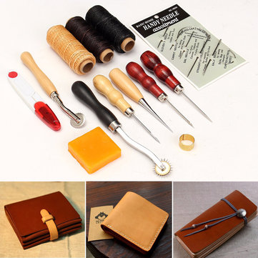 Buy 1Wood Handle Leather Craft Tool Kit Hand Sewing Punch Cutter DIY Set