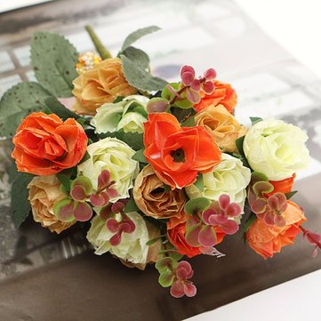 Buy 1 Bouquet 21 Heads Artificial Rose Flowers Leaf Home Party Wedding Craft Decoration