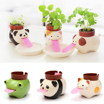DIY Mini Ceramic Animal Tougue Self-watering Potted Plant Home Office Desktop Decor