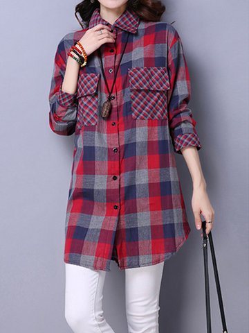 Women Vintage Long Sleeve Lapel Plaid Pocket Irregular Blouses