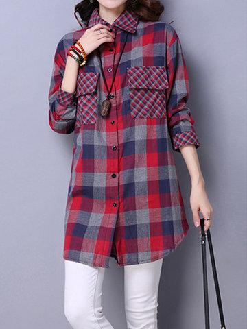 Женщины Vintage длинным рукавом лацкане плед карманных нерегулярных блузки